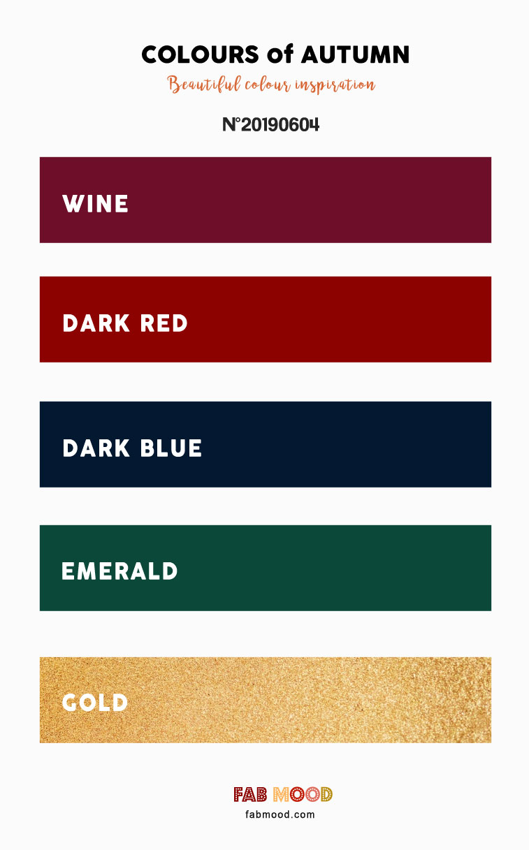 Wine + Dark Red + Dark Blue + Emerald and Gold