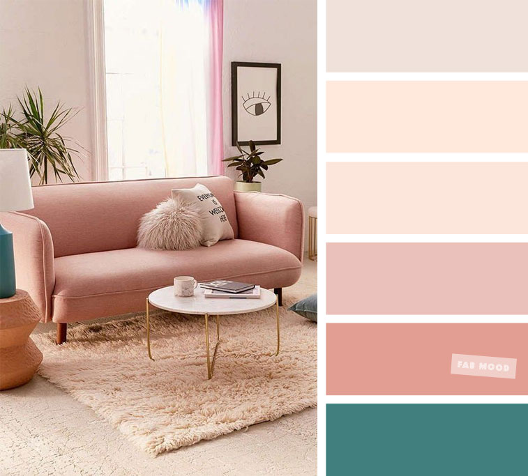 Blush peach  – The Best Living Room Color Schemes