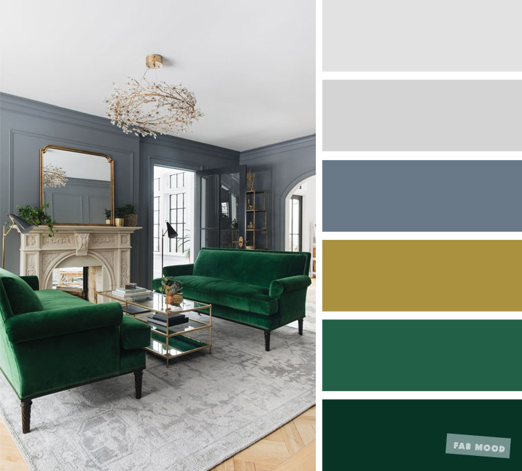 Emerald Green + Blue Grey – The Best Living Room Color Schemes