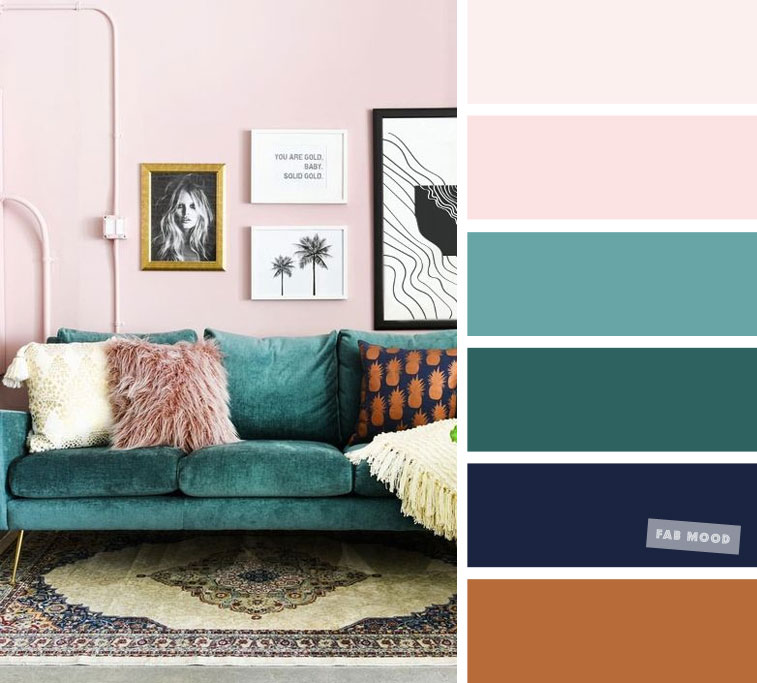 Blush Pink + Green Emerald + Navy Blue – Terracotta   – The Best Living Room Color Schemes