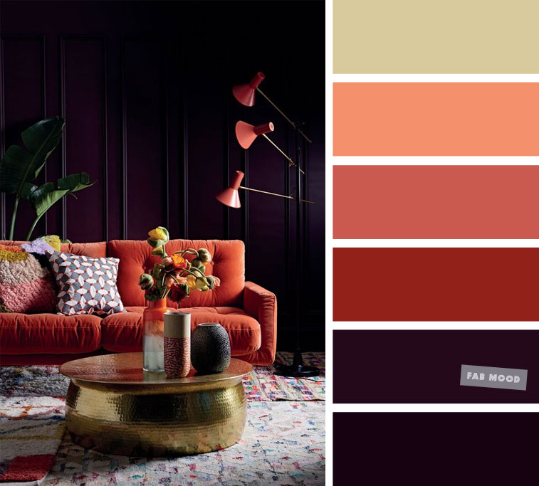 Midnight Purple and Terracotta with gold accents – The Best Living Room Color Schemes