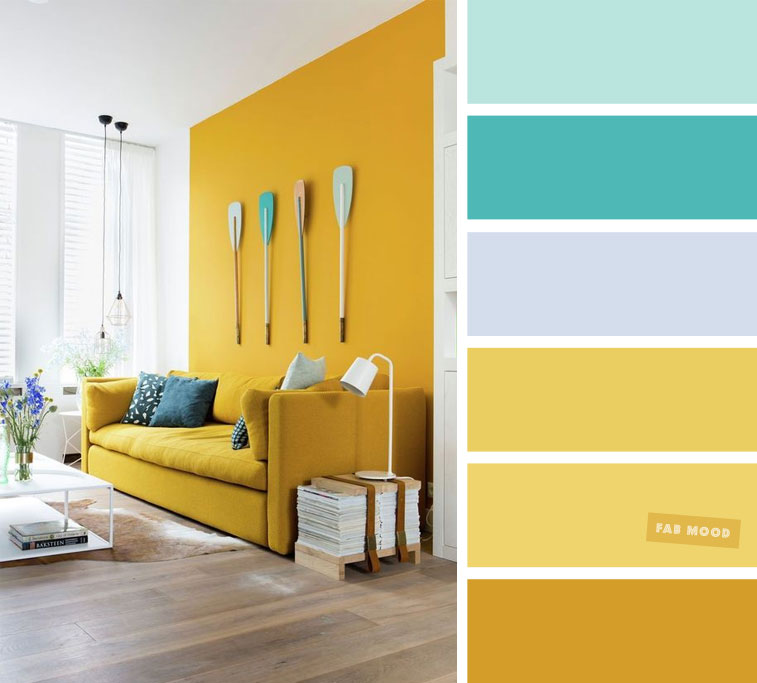 Mint + Turquoise + Mustard  – The Best Living Room Color Schemes