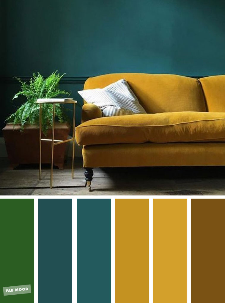 Green + Mustard + Teal – The Best Living Room Color Schemes #livingroom #colors #mustardyellow