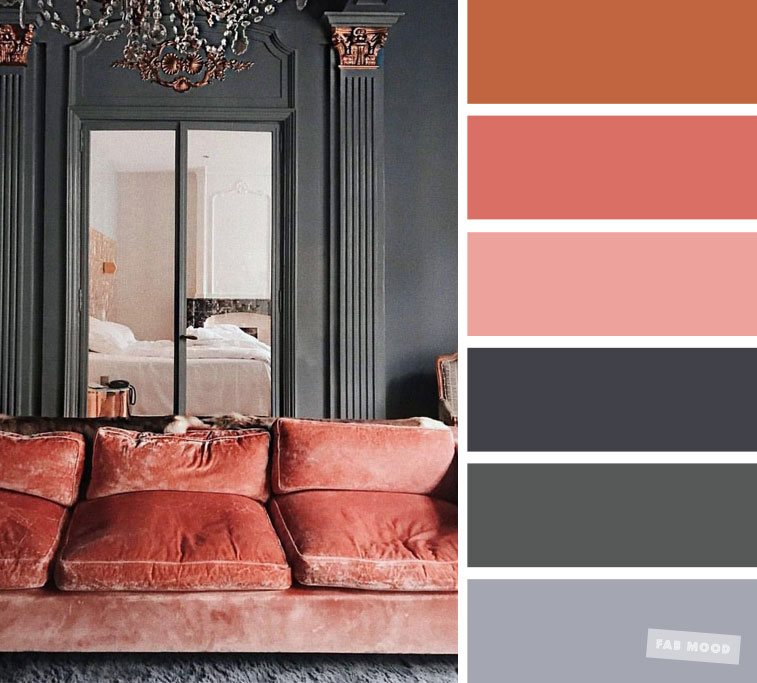 The best living room color schemes – Grey and Terracotta