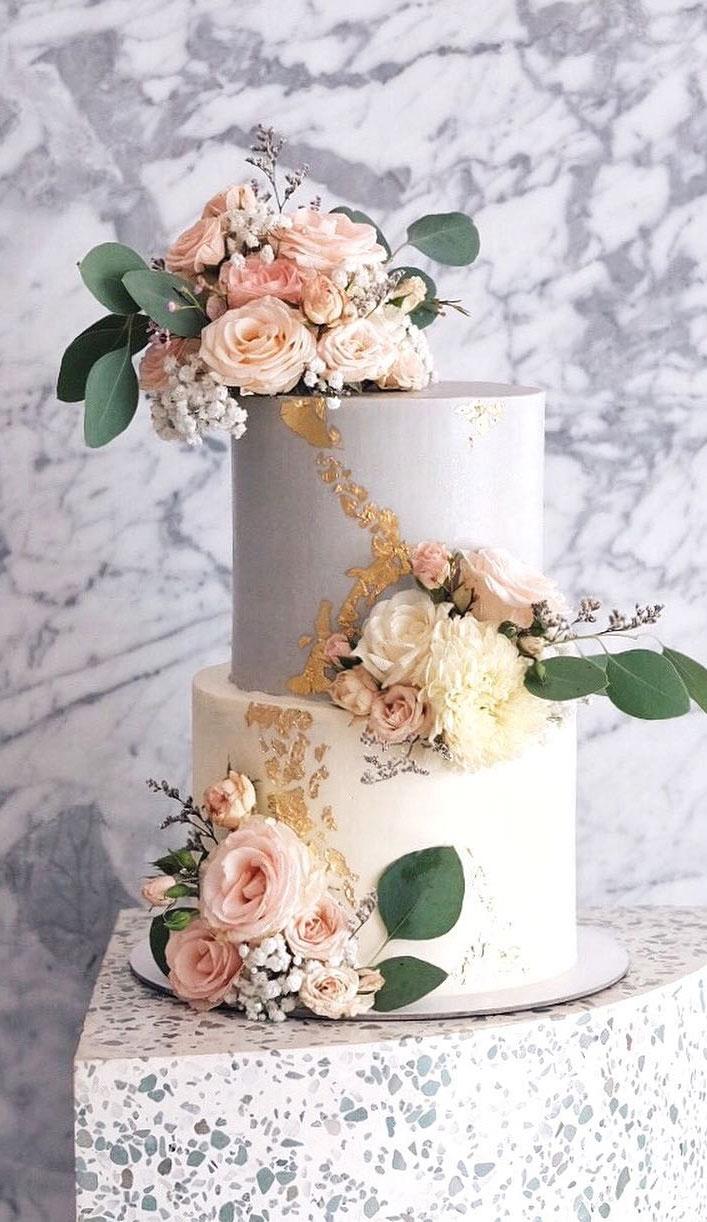 32 Jaw-Dropping Pretty Wedding Cake Ideas - Grey and ivory color two tierwedding cake , wedding cake,Wedding cakes #weddingcake #cake #cakes #nakedweddingcake