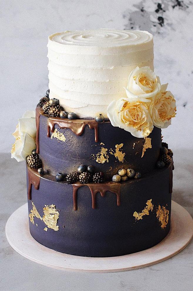 32 Jaw Dropping Pretty Wedding Cake Ideas 3 Tiered Black