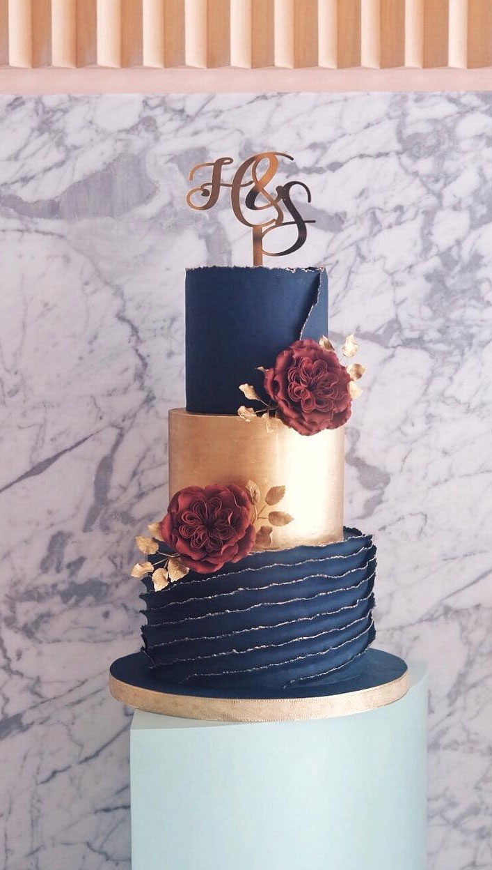 32 Jaw-Dropping Pretty Wedding Cake Ideas - Navy Blue And Gold Textured Wedding Cake, Three tier wedding cake,Wedding cakes #weddingcake #cake #cakes #nakedweddingcake