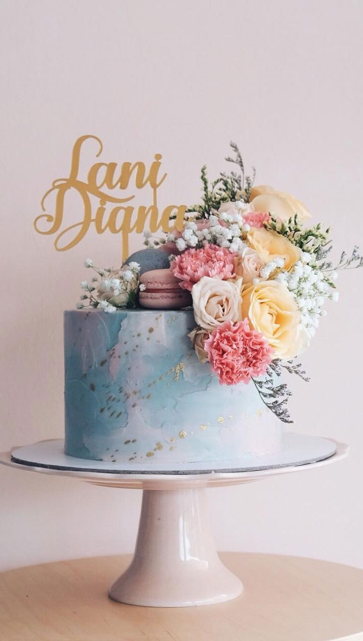 32 Jaw-Dropping Pretty Wedding Cake Ideas - light blue grey and pink single tier wedding cake,Wedding cakes #weddingcake #cake #cakes #nakedweddingcake