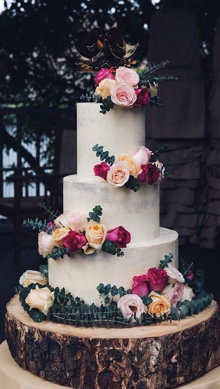 32 Jaw-Dropping Pretty Wedding Cake Ideas -  Three tier wedding cake,Wedding cakes #weddingcake #cake #cakes #nakedweddingcake