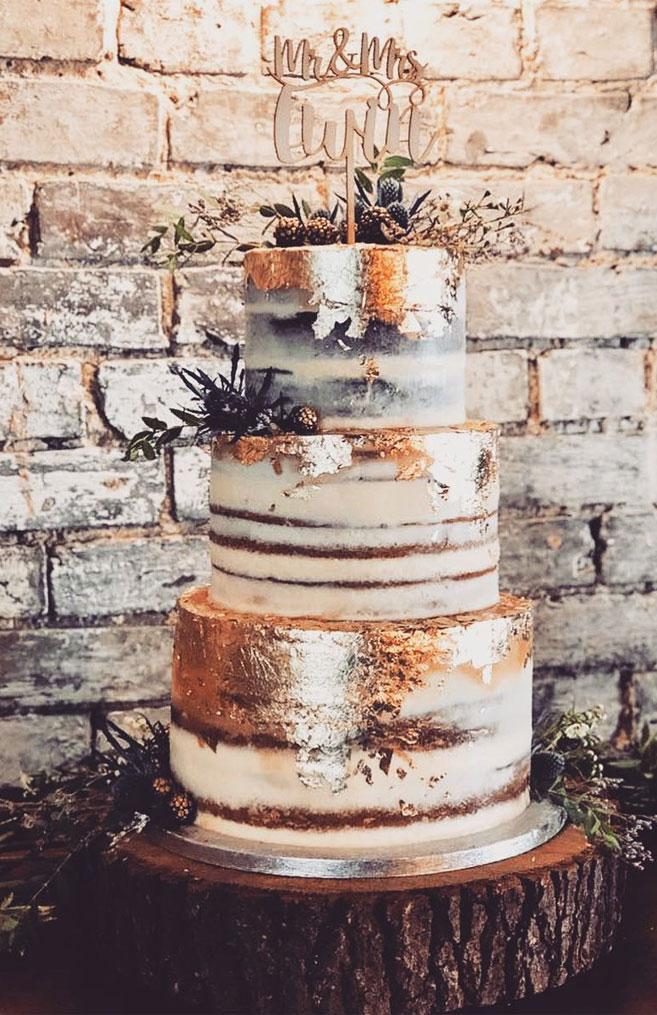 32 Jaw-Dropping Pretty Wedding Cake Ideas - 3 tiered semi naked wedding cake with gold leaf, thistle and blackberries,Wedding cakes #weddingcake #cake #cakes #nakedweddingcake
