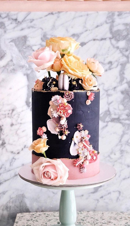 32 Jaw-Dropping Pretty Wedding Cake Ideas - Amazing black and blush single tier wedding cake wedding cake,Wedding cakes #weddingcake #cake #cakes #nakedweddingcake