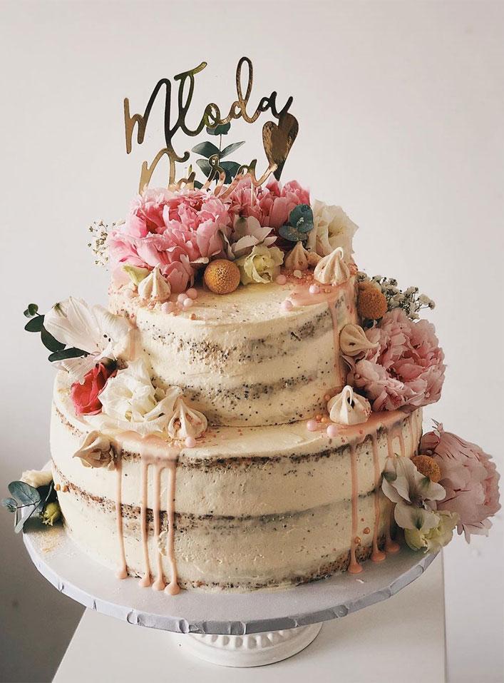 32 Jaw-Dropping Pretty Wedding Cake Ideas - Wedding cakes #weddingcake #cake #nakedweddingcake