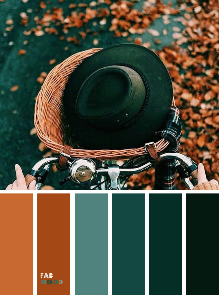 Green Emerald + Deep Green + Brown Autumn Leaf Color { Autumn Color Inspiration } Deep green ocean color + burnt orange + brown color combos