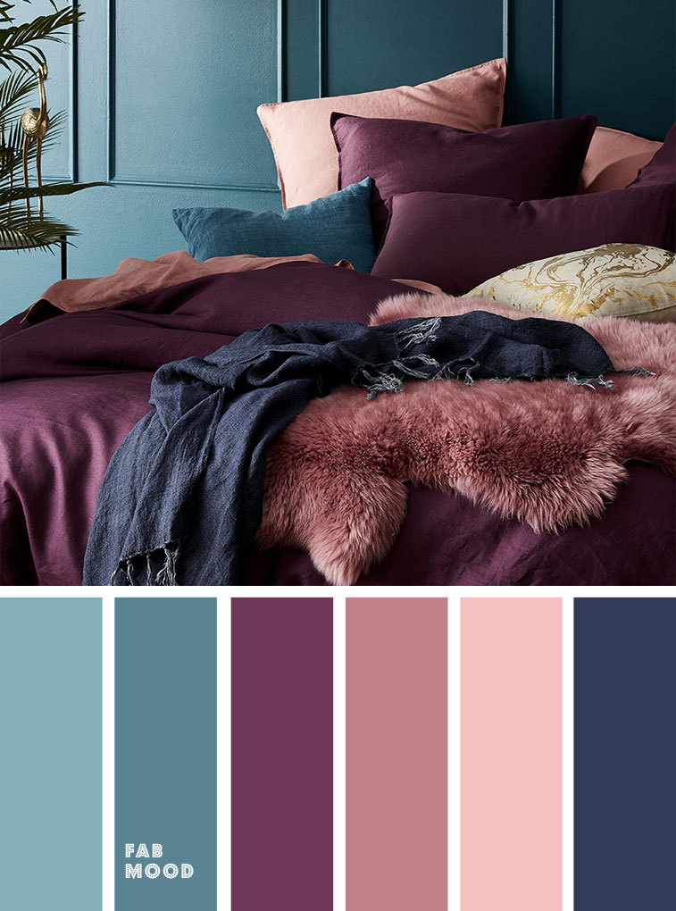 Peach Mauve Purple Navy Blue and Purple Colour Palette for Bedroom
