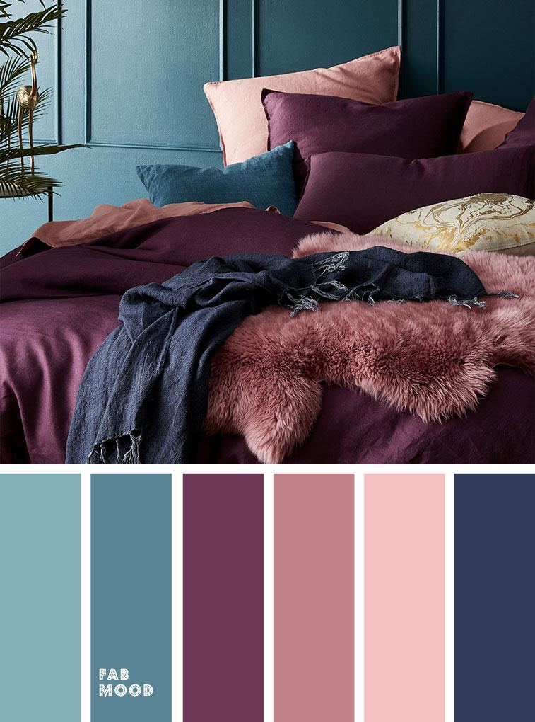 Peach Mauve Purple Navy Blue and Purple Colour Palette for Bedroom #color #colorinspiration