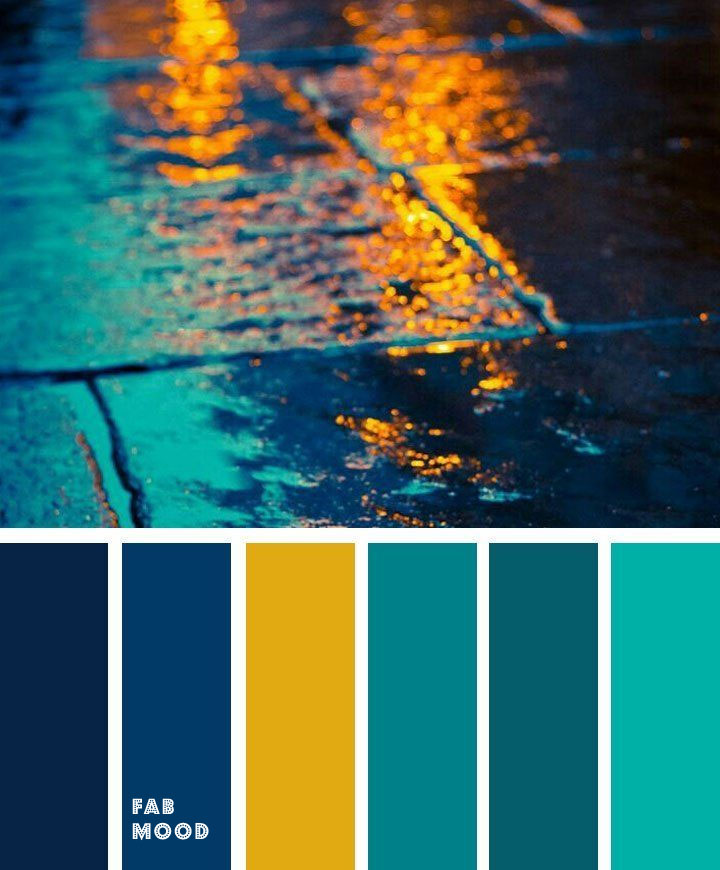 Blue + Teal + Yellow Glow Color Palette { Autumn Color Inspiration }