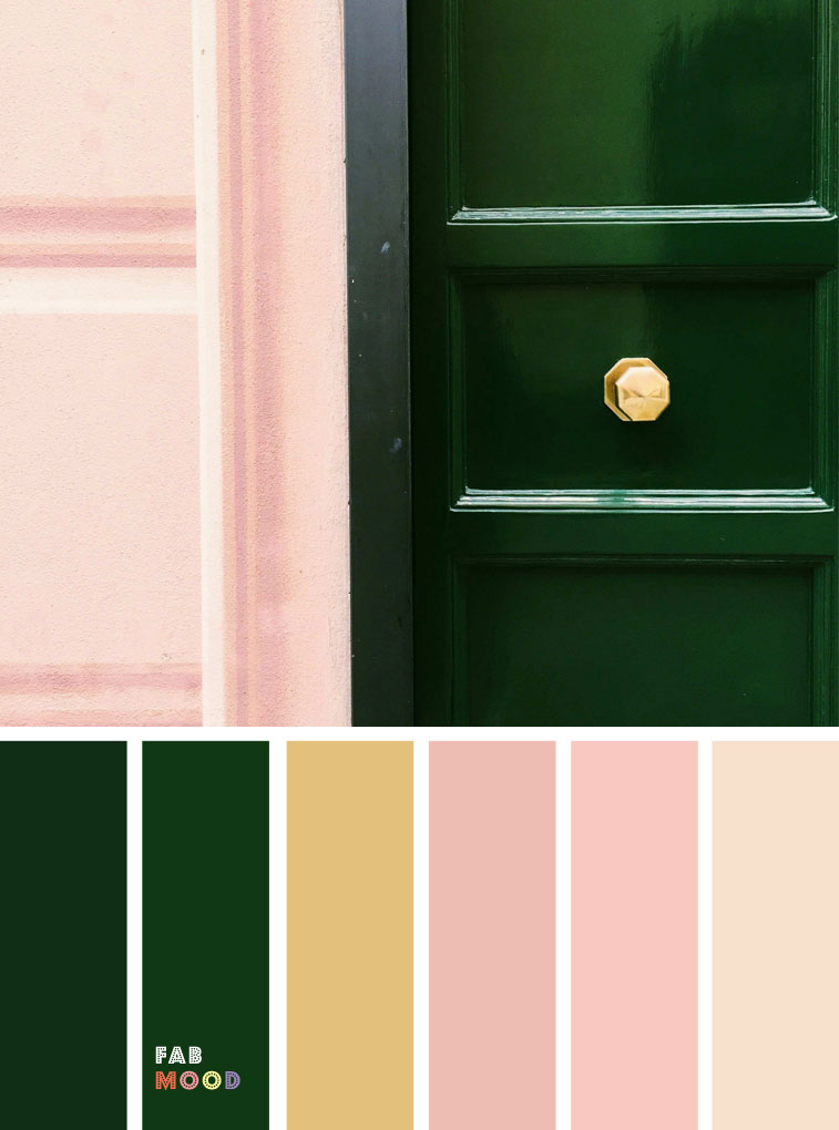 Green emerald and pink color palette with gold accents #emerald #pink colour palette #colors #colorpalette
