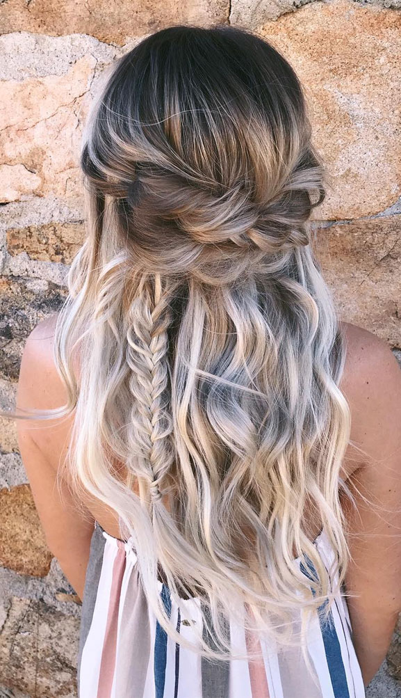 39 Gorgeous Half Up Half Down Hairstyles , braid half up half down hairstyles , Fishtail braided half up half down,boho hairstyle #hair #hairstyles #braids #halfuphalfdown #braidhair