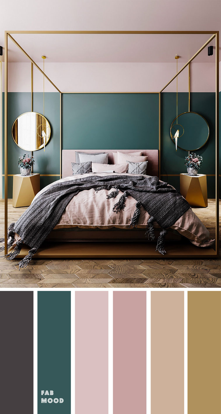 Hint of Grey + Teal and Mauve With Grey Accents Color Palette for Bedroom
