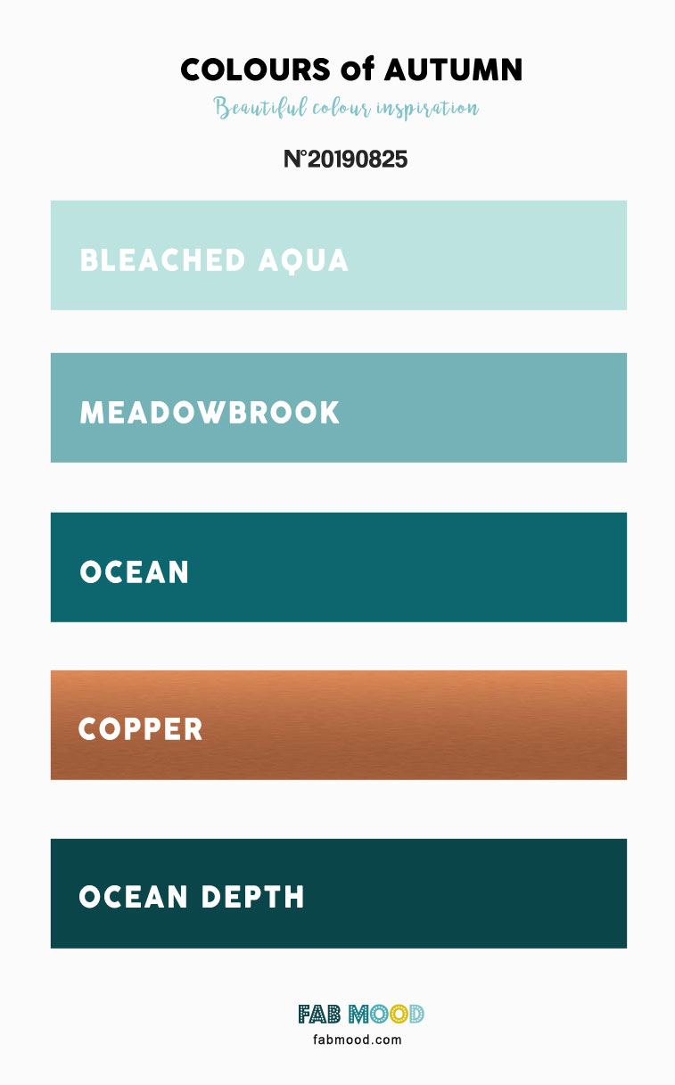 Autumn Color 2019 { Bleached Aqua + Copper + Ocean + Meadowbrook } #color #autumn #fallwedding #autumncolor