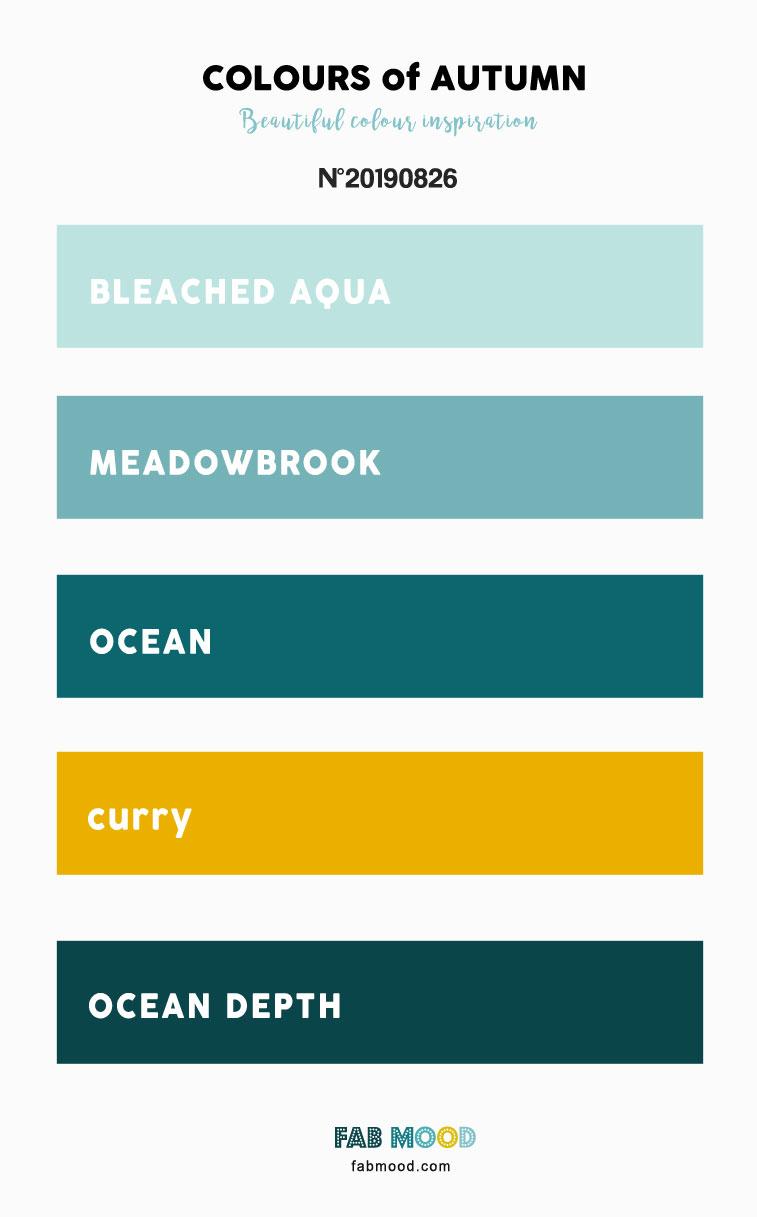 Autumn Color 2019 { Bleached Aqua + Curry + Ocean + Meadowbrook } #fallwedding #autumn #color