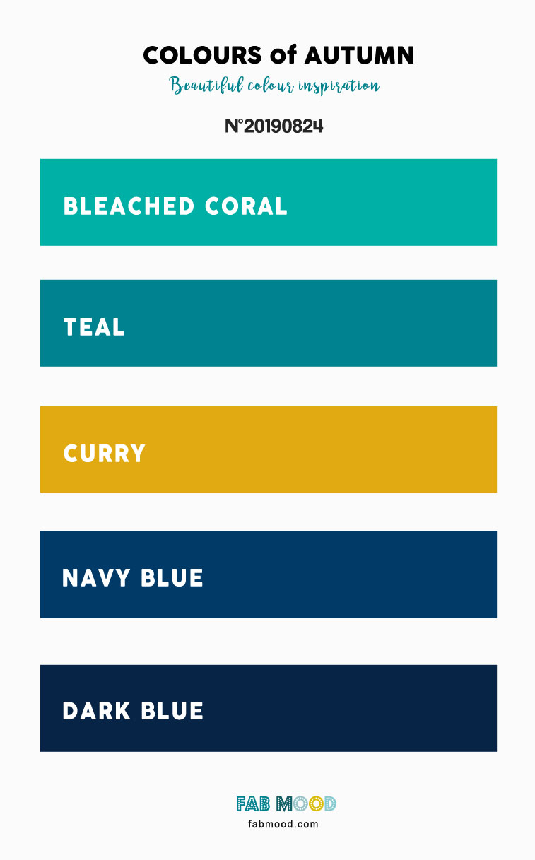 Autumn Color 2019 { Bleached Coral + Curry + Teal + Dark Blue }
