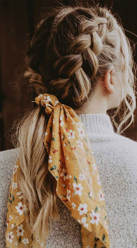 double dutch braids, cute hairstyle, quick hairstyle, easy hairstyle with scarf , hairstyles for really hot weather #hairstyle