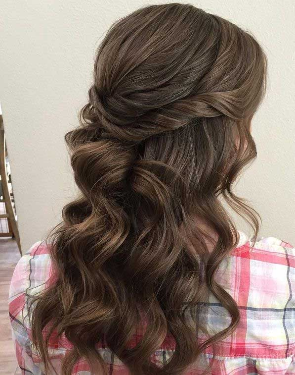 43 Gorgeous Half Up Half Down Hairstyles , partial updo hairstyle , braid half up half down hairstyles , bridal hair ,boho hairstyle #hair #hairstyles #braids #halfuphalfdown #braidhair