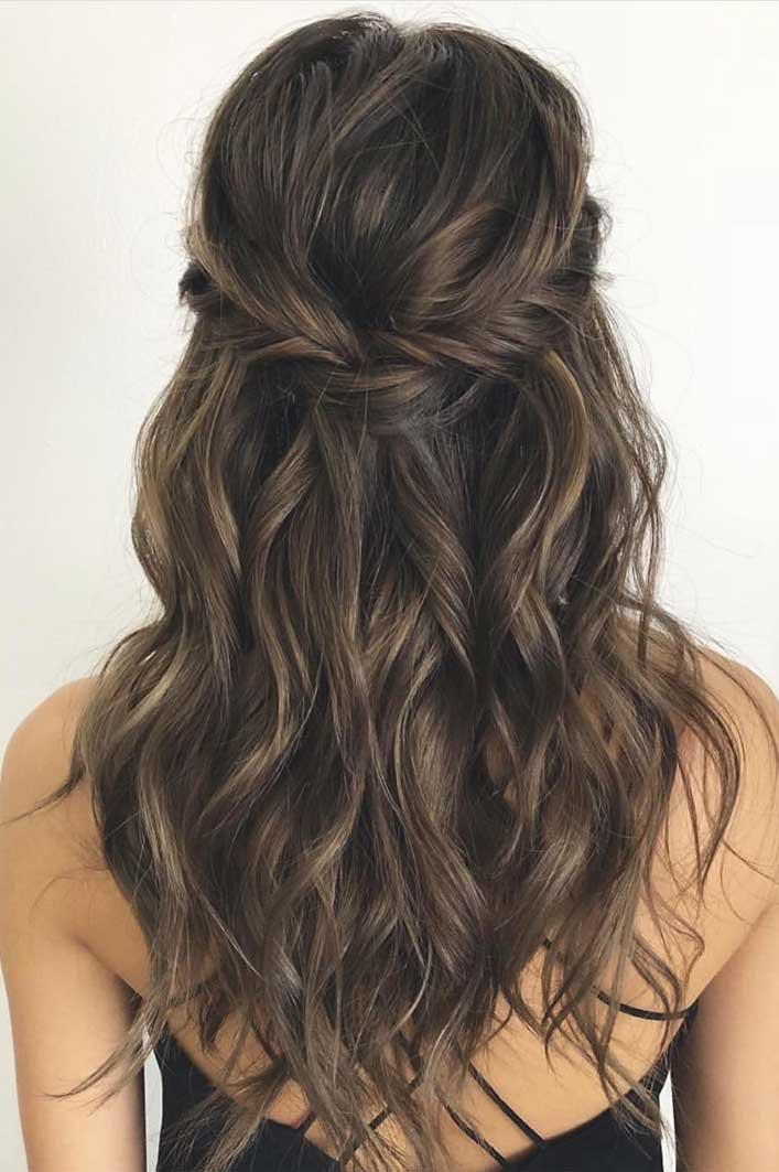 43 Gorgeous Half Up Half Down Hairstyles, partial updo hairstyle , braid half up half down hairstyles , bridal hair ,boho hairstyle #hair #hairstyles #braids #halfuphalfdown #braidhair