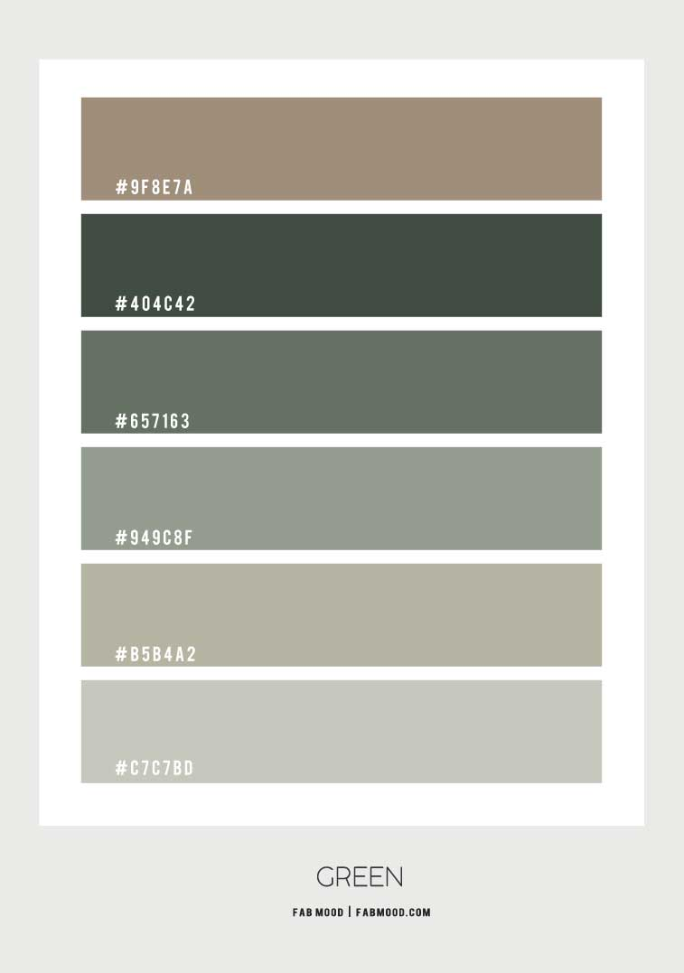 green color scheme, green color palette, shades of green color scheme, chive sage green color palette