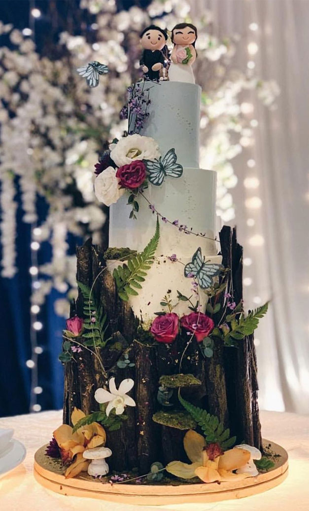 Beautiful Wedding Cake, wedding cake ideas, enchanted forest wedding cake, woodland wedding cake, pretty wedding cake #wedding #weddingcake #cake #elegantweddingcake