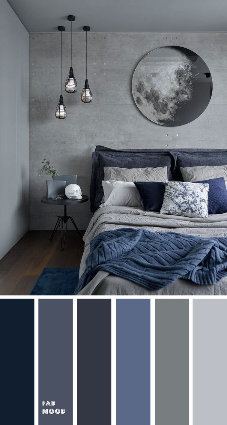 Grey and Dark blue Bedroom Color Scheme