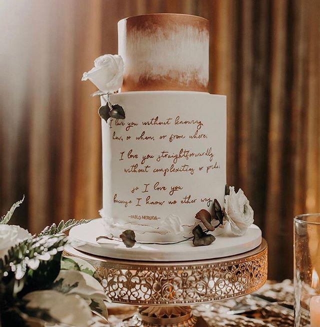 Two tier wedding cake with Pablo Neruda poem - Wedding cake ...