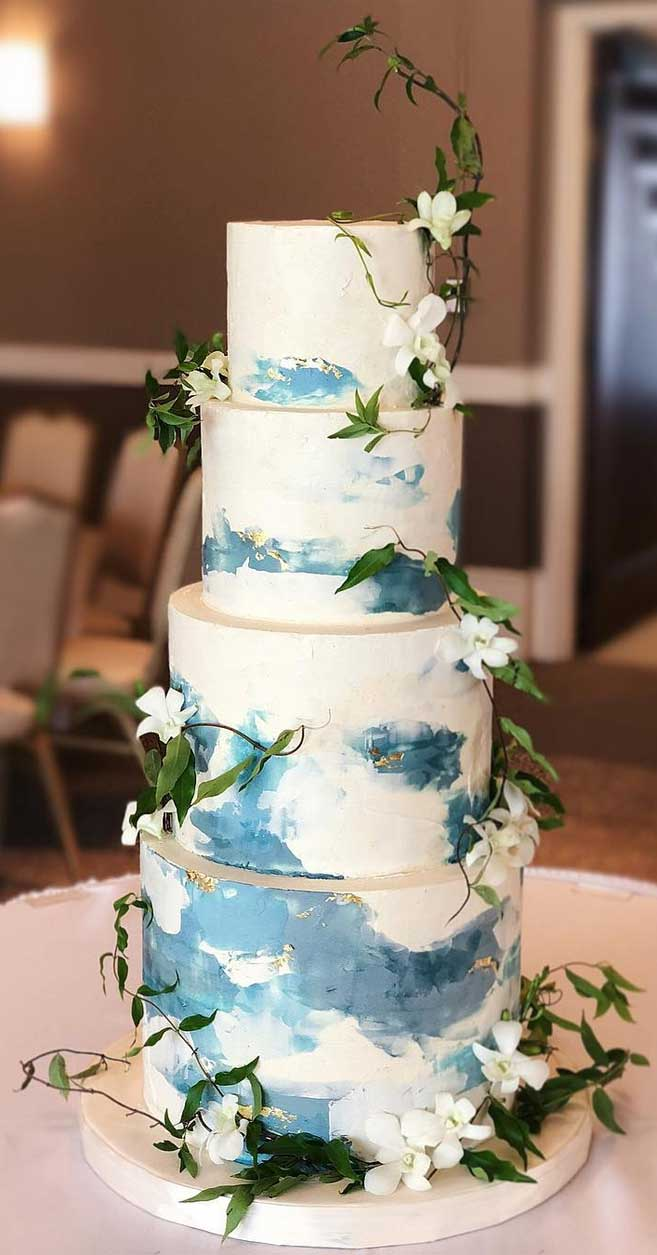 The 50 Most Beautiful Wedding Cakes Ombre Blue Wedding Cake