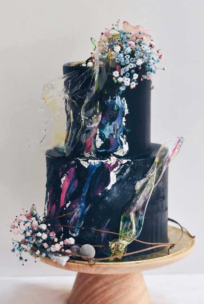 The 50 Most Beautiful Wedding Cakes – Black Two Tier Wedding Cake