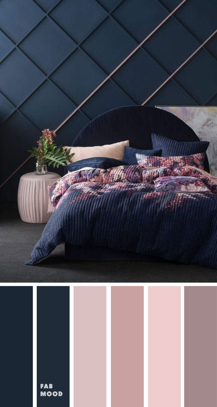 Beautiful bedroom color scheme : Dark blue, mauve and blush, bedroom color scheme, bedroom color ideas, bedroom blush and dark blue