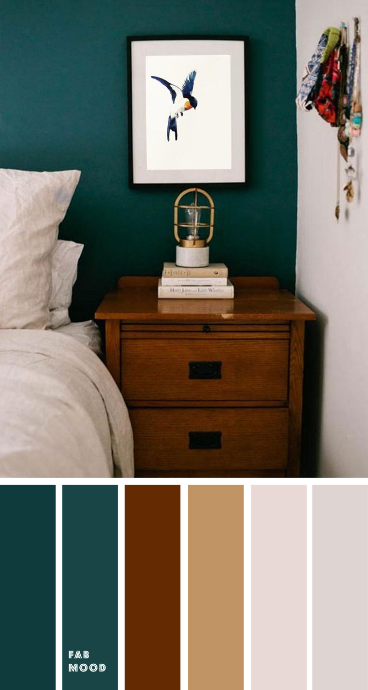 Beautiful bedroom color scheme : Dark Green and Brown