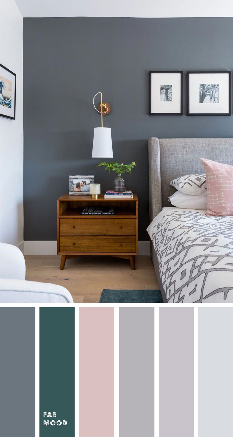 Grey Bedroom with pink and teal accent