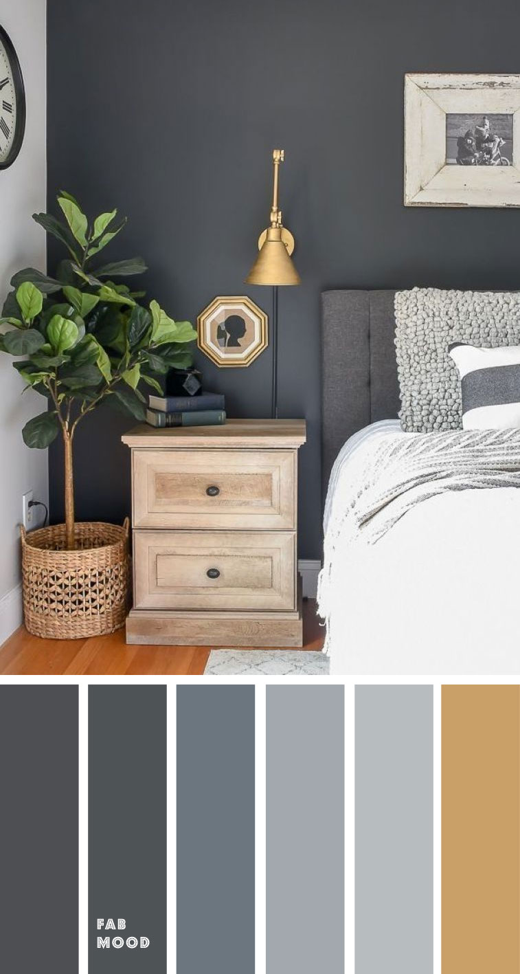 Grey bedroom with gold accents