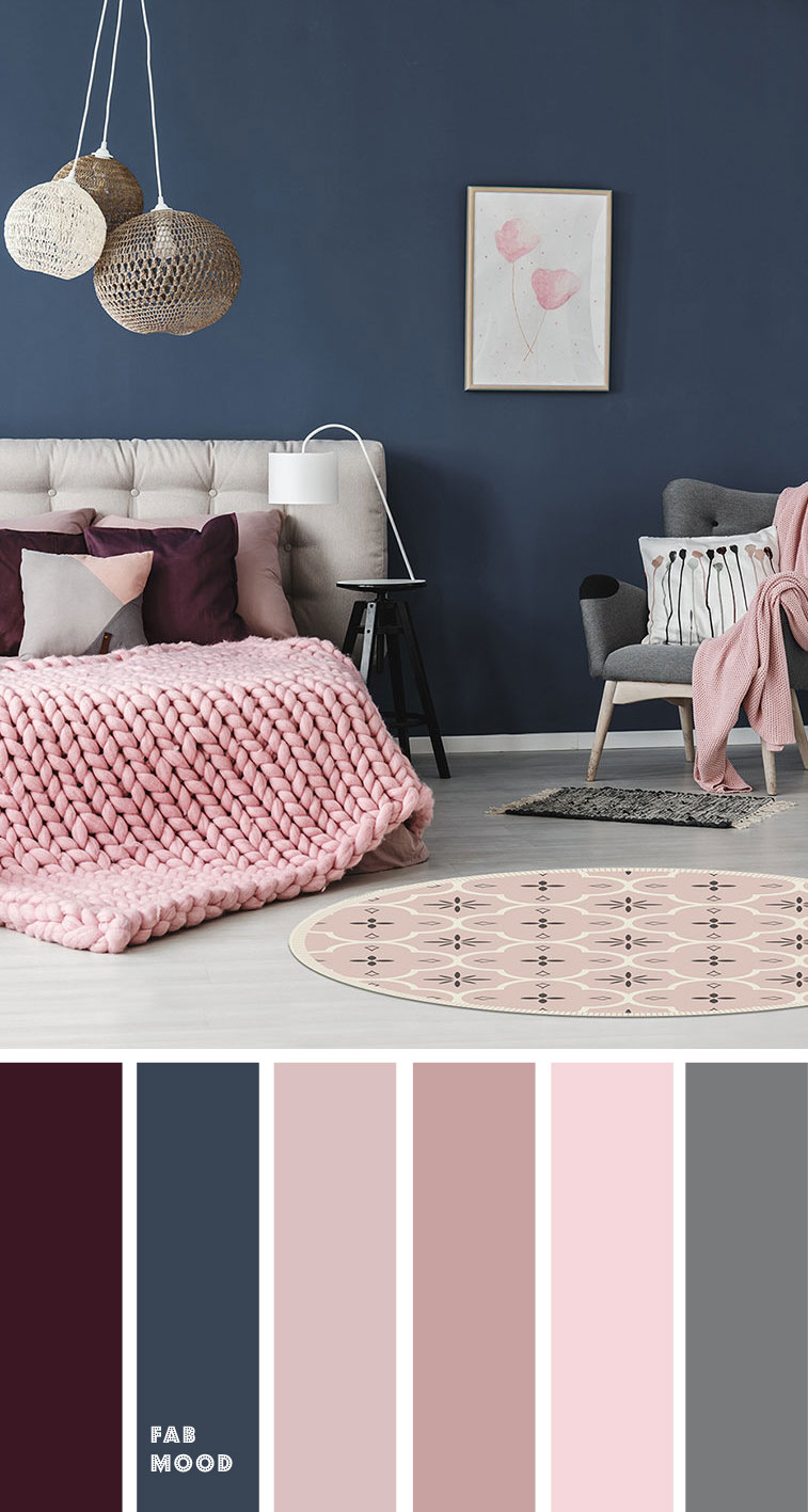Beautiful bedroom color scheme : Purple + pink + Navy blue with grey accents