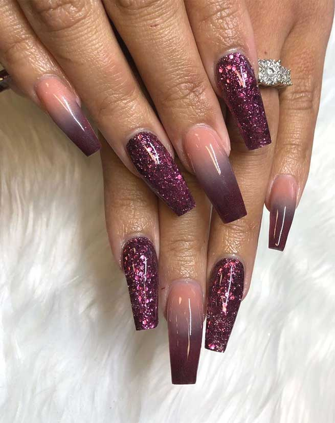 49 nail art designs that perfect for fall and winter, coffin nail art designs, almond nail art design, acrylic nail art, nail designs with glitter #nail #nailart #acrylic, fall nail art designs, nail art designs 2019, beautiful nail art designs images, latest nail art designs gallery, ombre nail art designs with glitter