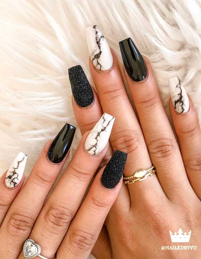 49 nail art designs that perfect for fall and winter, coffin nail art designs, almond nail art design, acrylic nail art, nail designs with glitter #nail #nailart #acrylic, fall nail art designs, nail art designs 2019, beautiful nail art designs images, latest nail art designs gallery, marble nail art designs