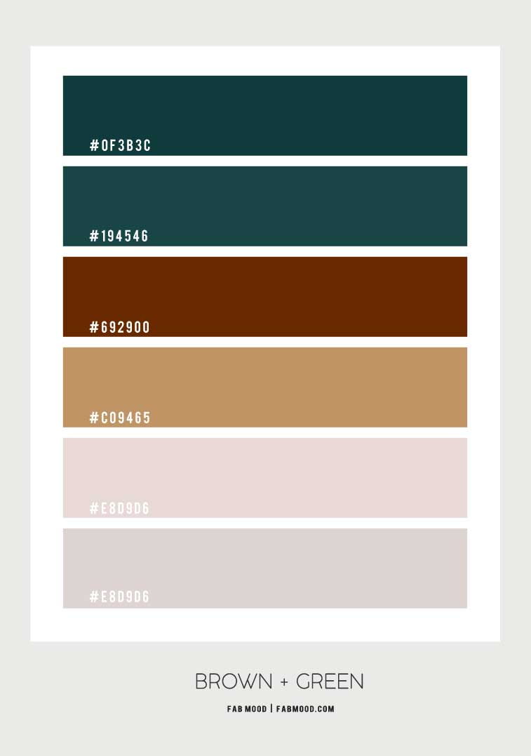 green and brown color scheme, brown and green color combo, brown and green color palette, earth tone color palette