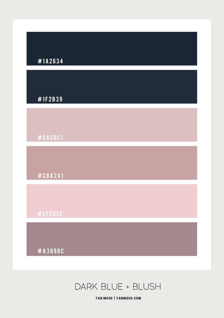 blush dark blue and mauve color scheme, dark blue and pink color palette, blue and pink color combos, navy blue and pink color scheme
