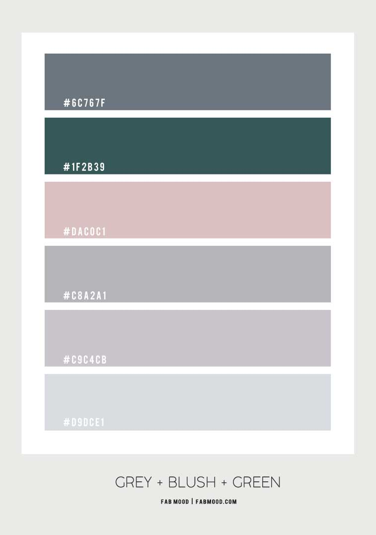 grey and green color scheme, grey and blush color scheme, grey green blush color combo
