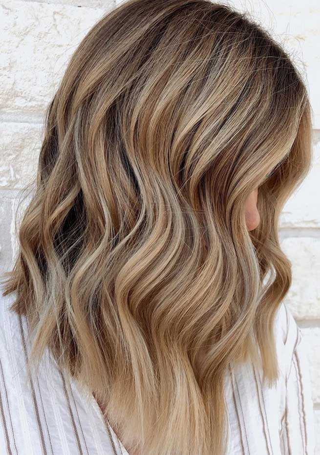balayage hair color, dirty blonde medium length hair, bronde hair