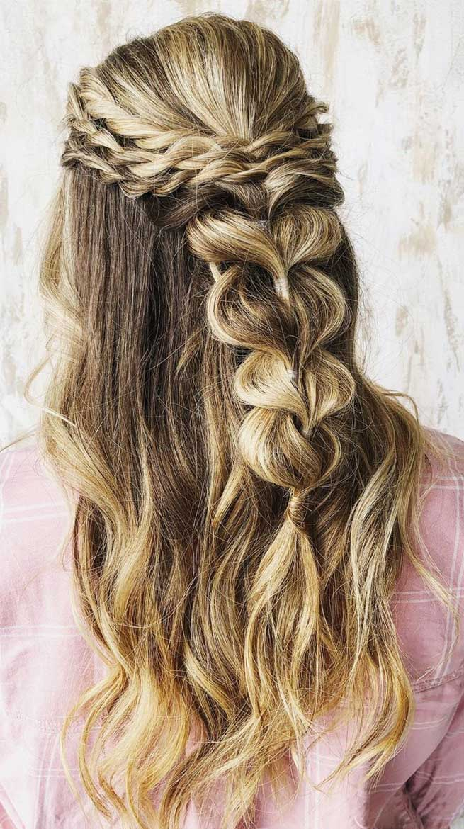 Half Up Half Down Hairstyles, partial updo hairstyle , half up half down hairstyles wedding, braid half up half down hairstyles , bridal hair ,boho hairstyle #hair #hairstyles #braids #halfuphalfdown #braidhair half up hairstyles for medium length hair, sleek half up half down hairstyles, pretty half up half down hairstyles