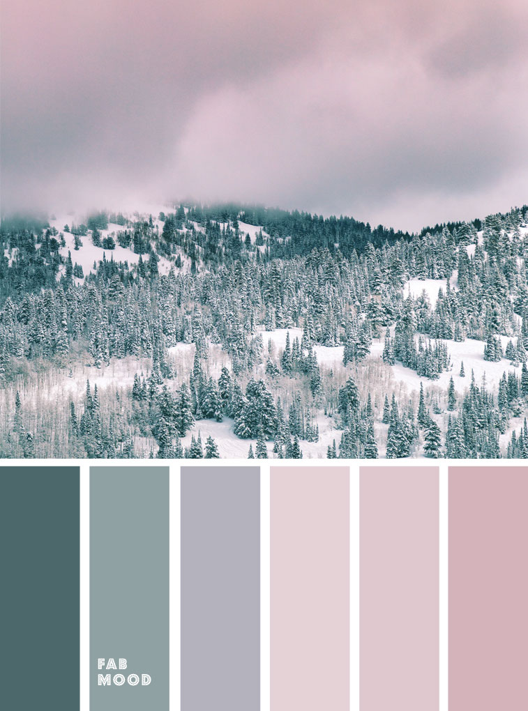 mauve + sage and pine green, winter color palette, winter color schemes, color palettes, sage and mauve color palette, winter color ideas