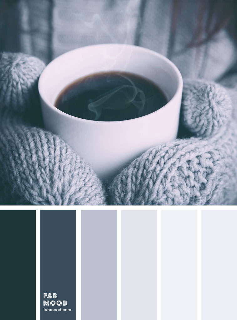 Blue grey and black winter color palette