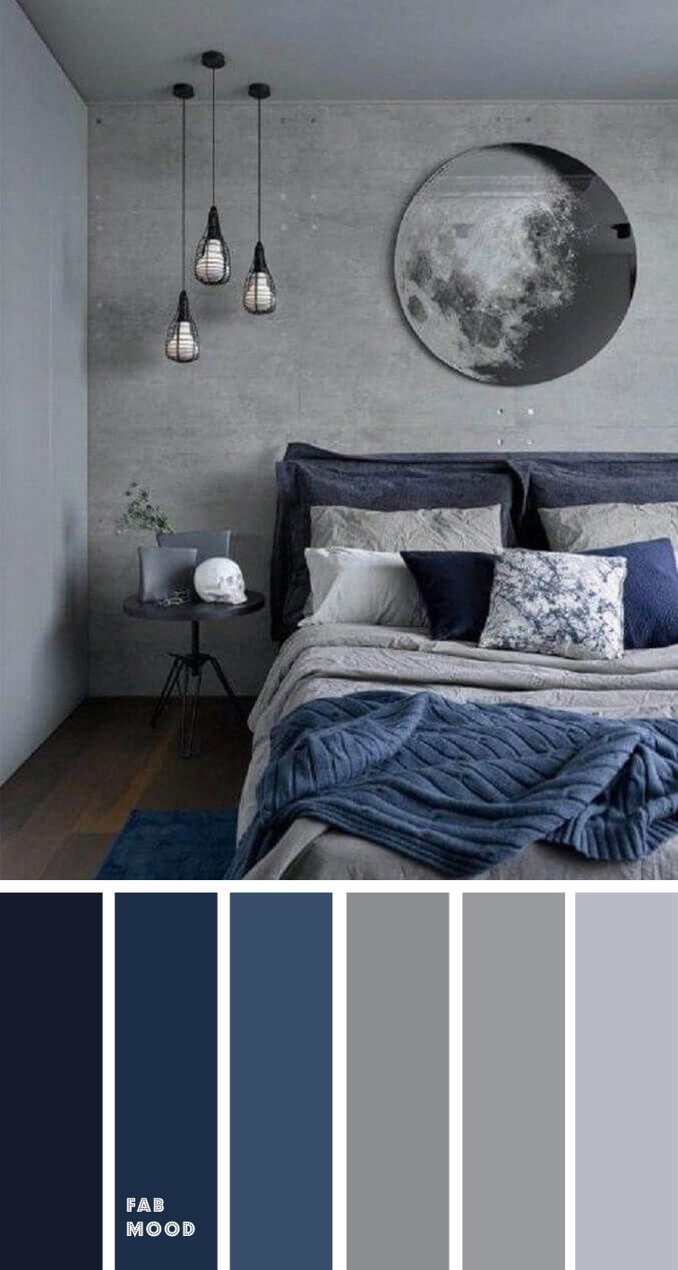 Blue and grey bedroom color palette